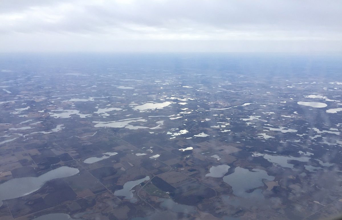 Somewhere over Minnesota, land of 10,000 lakes!