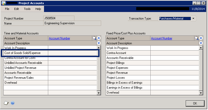 Project Accounts window