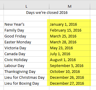 excel 3 - holiday list