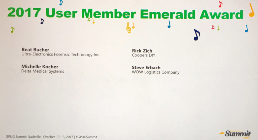 GPUG 2017 Emerald Awards