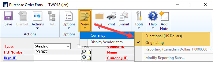 Purchase Order View > Currency menu