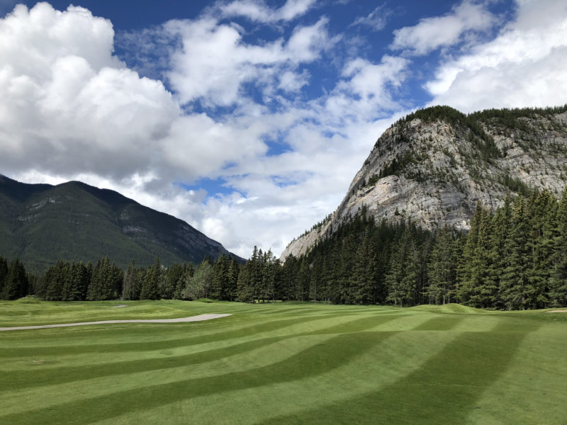 Banff Springs 18th hole looking back towards the tee.