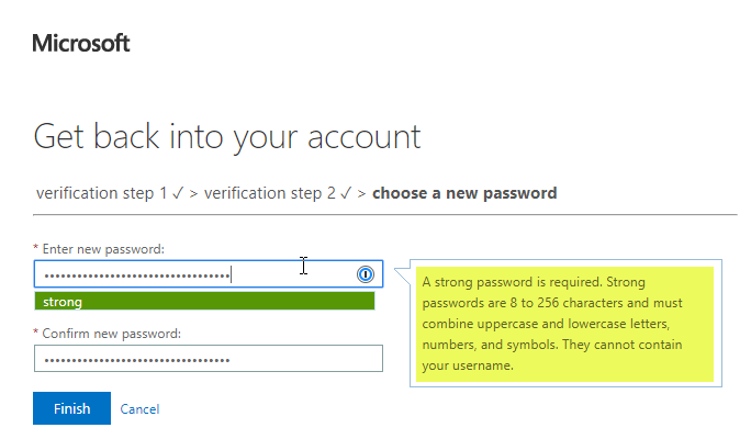 Select a password window