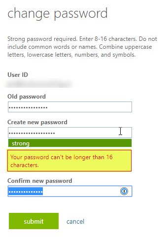O365 error password can't exceed 16 characters.
