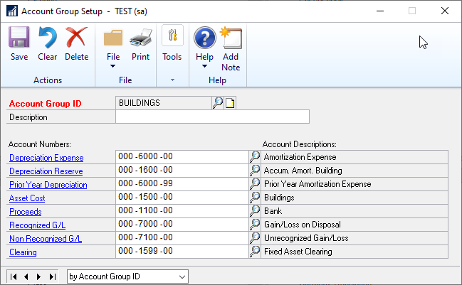 Fixed Assets Account Group setup