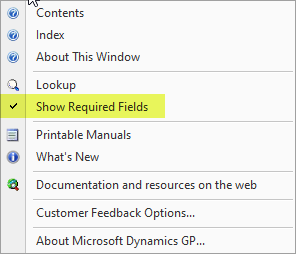 Help menu option to Show Required Fields