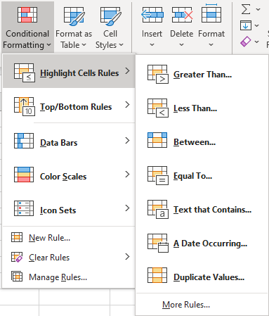 "Conditional Formatting ""Highlight Cells"" menu"