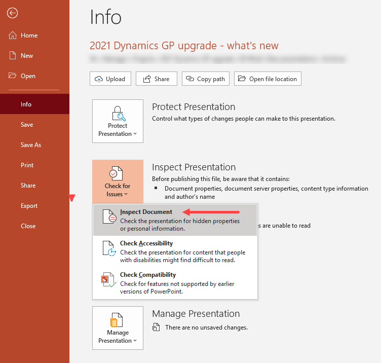 Screenshot of Info page in PowerPoint, with Check for Issues expanded to show the submenu.
