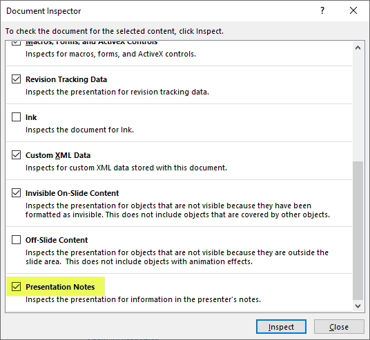 Screenshot of Document Inspector window in PowerPoint, with Presentation Notes highlighted and enabled.