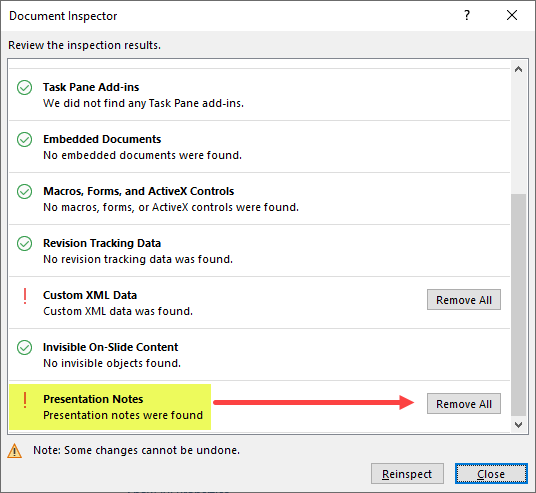 Screenshot of Document Inspector (results) showing an option for Remove All under Presentation Notes.