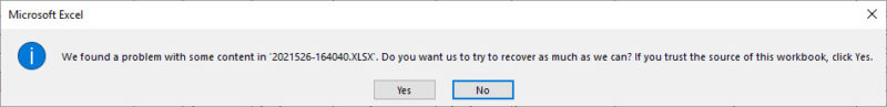 Error message in Microsoft Excel. The message text is described in the paragraph above this image.