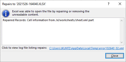 Further detail about the repaired records in Microsoft Excel. The full error message is noted in the paragraph above this screenshot.